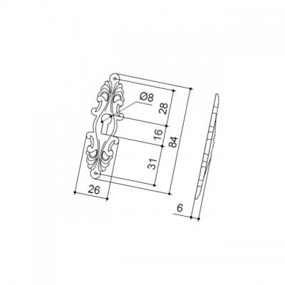 Накладка вертикальная под ключ, отделка старое серебро с блеском WBC.627.000.00E8