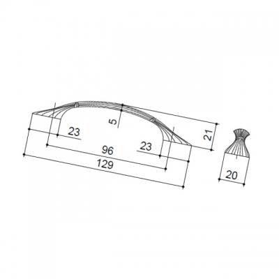 Ручка-скоба 96мм, отделка чернёное серебро + лазурит WMN.503X.096.M00C3