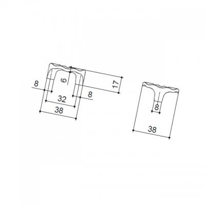 Ручка-скоба 32мм, отделка золото глянец WPO.608X.032.M00GP