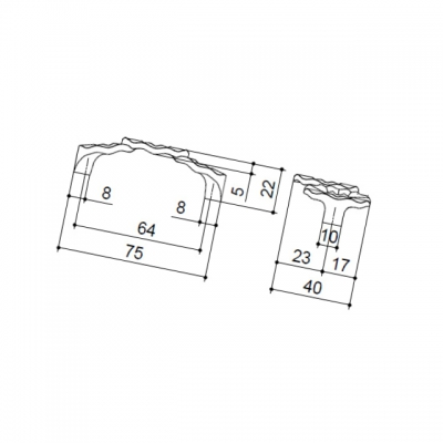 """Ручка-скоба 64мм, отделка бронза античная """"Флоренция"""" WMN.608X.064.M00D1"""