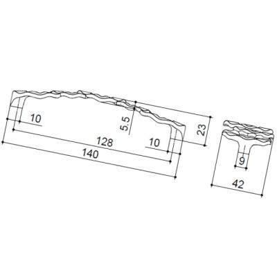 """Ручка-скоба 128мм, отделка бронза античная """"Флоренция"""" WMN.608X.128.M00D1"""