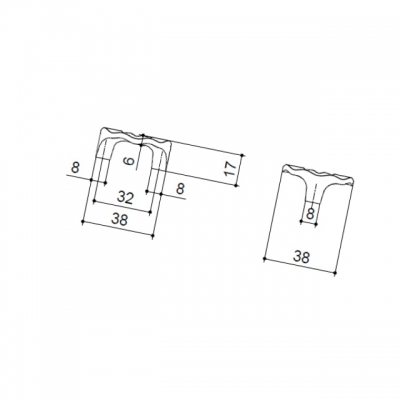 Ручка-скоба 32мм, отделка хром глянец WPO.608X.032.M0002