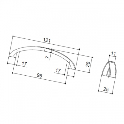 """Ручка-скоба 96мм, отделка бронза античная """"Флоренция"""" WMN.611X.096.M00D1"""