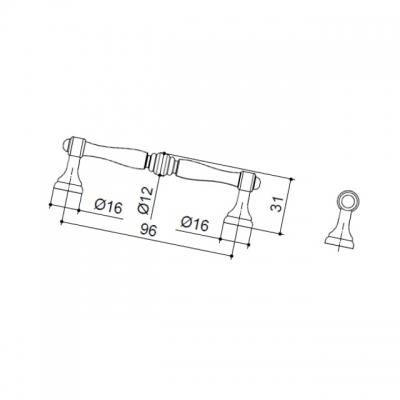 Ручка-скоба 96мм, отделка старое серебро с блеском WMN.619X.096.M00E8