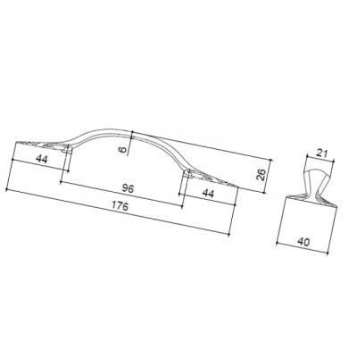 """Ручка-скоба 96мм, отделка бронза античная """"Флоренция"""" WMN.627X.096.M00D1"""