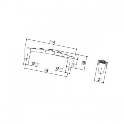 Ручка-скоба 96мм, отделка хром глянец + горный хрусталь WMN.633X.096.MKR02