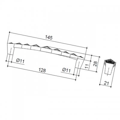 Ручка-скоба 128мм, отделка золото глянец + горный хрусталь WMN.633X.128.MKRGP