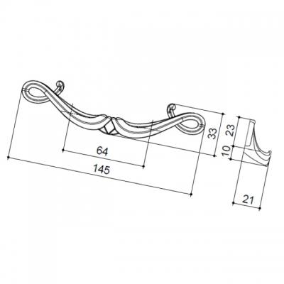 Ручка-скоба 64мм, отделка старое серебро с блеском WMN.635X.064.M00E8