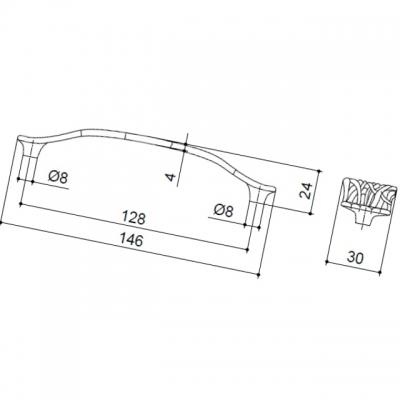"""Ручка-скоба 128мм, отделка бронза античная """"Флоренция"""" WMN.638X.128.M00D1"""