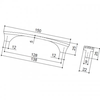 Ручка-скоба 128мм, отделка черный + горный хрусталь WMN.640X.128.MKRL8