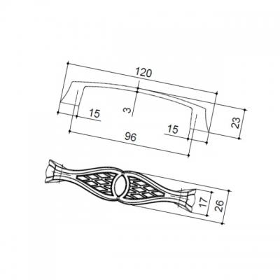 """Ручка-скоба 96мм, отделка серебро """"Венеция"""" WMN.645X.096.M00M5"""