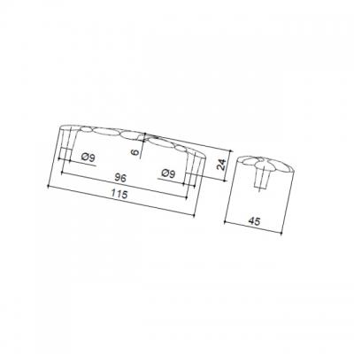 Ручка-скоба 96мм, отделка хром глянец WMN.649X.096.M0002
