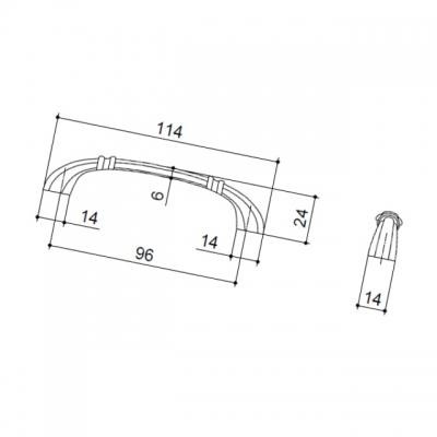 Ручка-скоба 96мм, отделка старое серебро с блеском WMN.654X.096.M00E8
