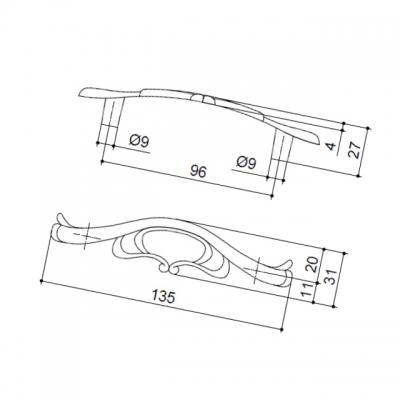 Ручка-скоба 96мм, отделка старое серебро с блеском WMN.670X.096.M00E8