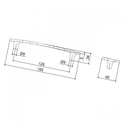 Ручка-скоба 128мм, отделка старое серебро с блеском WMN.676X.128.M00E8