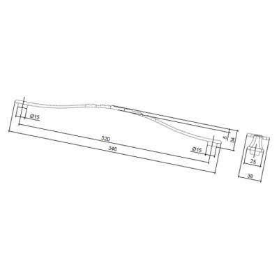 Ручка-скоба 320мм, отделка старое серебро с блеском WMN.676X.320.M00E8