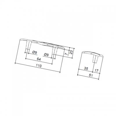 Ручка-скоба 64мм, отделка хром глянец WMN.682X.A64.M0002