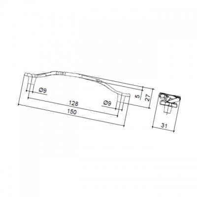"""Ручка-скоба 128мм, отделка бронза """"Орваль"""" WMN.696X.128.M00A8"""