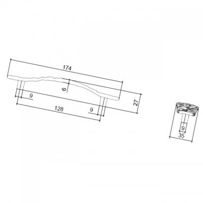 Ручка-скоба 128 мм, отделка отделка старое серебро с блеском WMN.707X.128.M00E8