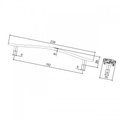 Ручка-скоба 192 мм, отделка старое серебро с блеском WMN.707X.192.M00E8