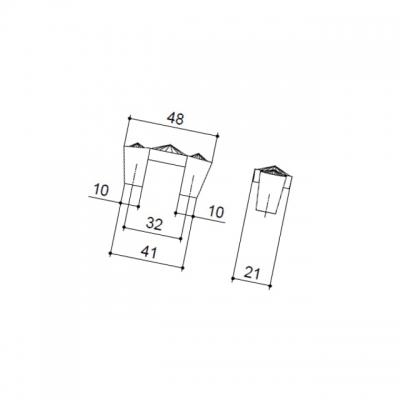 Ручка-скоба 32мм, отделка золото глянец + горный хрусталь WPO.633X.C32.MKRGP