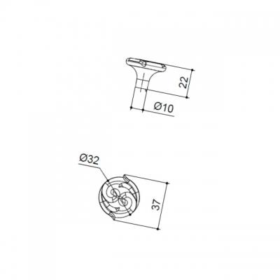 Ручка-кнопка, отделка старое серебро с блеском WPO.634Y.031.M00E8