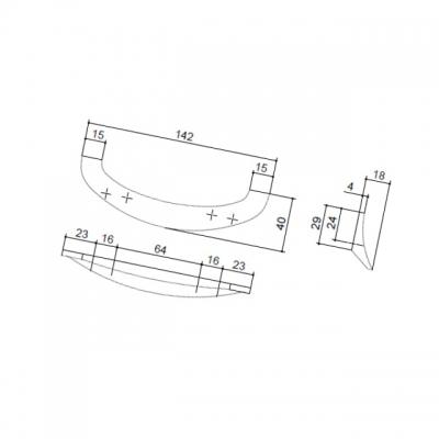 Ручка-скоба 64-96мм, отделка хром глянец F136/C-CR