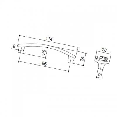 Ручка-скоба 96мм, отделка старое серебро с блеском WMN.702X.096.M00E8