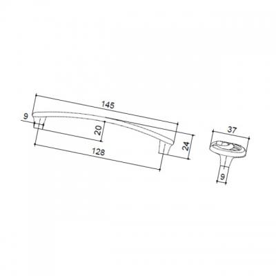 Ручка-скоба 128мм, отделка старое серебро с блеском WMN.702X.128.M00E8