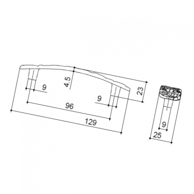 """Ручка-скоба 96мм, отделка бронза античная """"Флоренция"""" WMN.712X.096.M00D1"""
