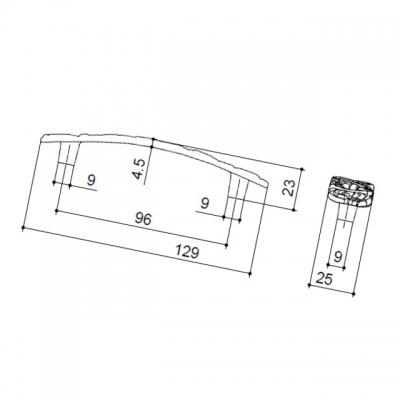 Ручка-скоба 96мм, отделка старое серебро с блеском WMN.712X.096.M00E8