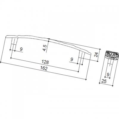 Ручка-скоба 128мм, отделка старое серебро с блеском WMN.712X.128.M00E8