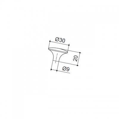 Ручка-кнопка, отделка старое серебро с блеском WPO.702Y.030.M00E8
