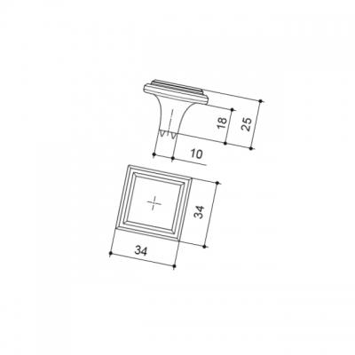 Ручка-кнопка, отделка железо KB-I-3951-34-I