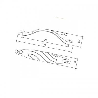 Ручка-скоба 128мм, отделка серебро старое 15050Z1280B.25