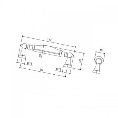 Ручка-скоба 96мм, отделка серебро старое + керамика черная 15141P096ES.25