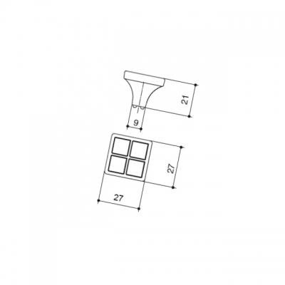 Ручка-кнопка, отделка никель глянец + горный хрусталь 24200Z02700.32
