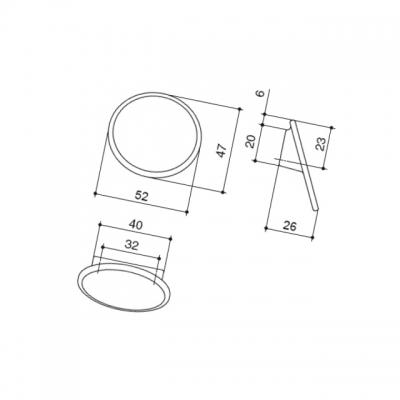 Ручка-кнопка 32мм, отделка белый матовый + вставка 10.823.B70-111