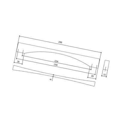 Ручка-скоба 224-256мм, отделка чёрный матовый 350/52.4F