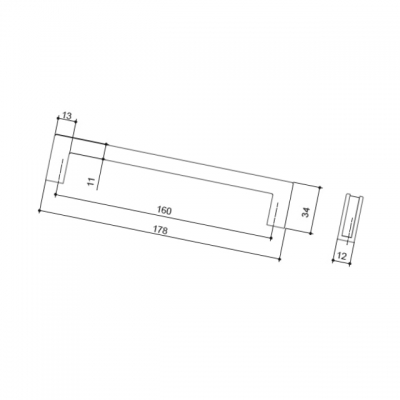 Ручка-скоба FRAME 160мм, отделка венге + сталь нержавеющая 511960160-66/053948