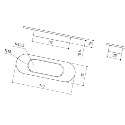 Ручка врезная 110мм, отделка бронза античная 3922/831