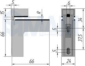 SU16AZCR КВАДРО Менсолодержатель 24х66 мм для деревянных и стеклянных полок 4 - 40 мм, хром