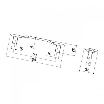 Ручка-скоба 96мм, отделка серебро античное 9.1358.0096.17