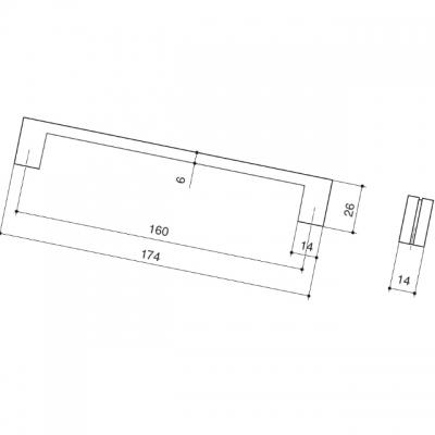 Ручка-скоба 160мм, отделка черный матовый 8.1136.0160.52