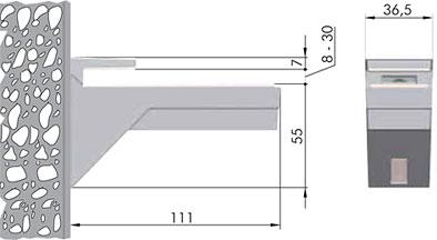 162200 10 JM-2 KALABRONE Менсолодержатель для деревянных и стеклянных полок 8 - 30 мм, хром матовый (2 шт.)