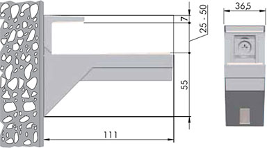 162200 30 JM-2 KALABRONE MAXI Менсолодержатель для деревянных полок 25 - 50 мм, хром матовый (2 шт.)