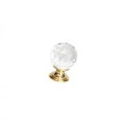 Ручка-кнопка d.26мм, отделка золото глянец + стекло 9993/100