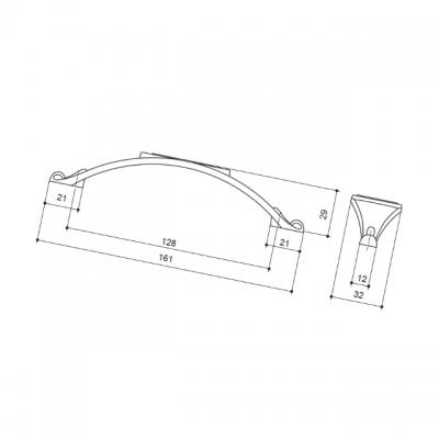 Ручка-скоба 128мм, отделка серебро старое 15177Z12800.25