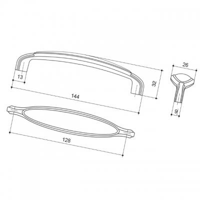 Ручка-скоба 128мм, отделка хром глянец 15178P1281A.36