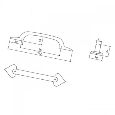 Ручка-скоба 96мм, отделка железо HN-I-3598-96-I